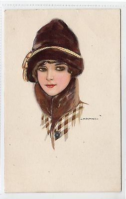 GIRL IN A HAT: Glamour postcard by Nanni (C13307)