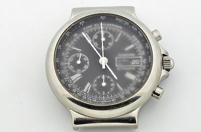 Men's Tourneau Stainless Steel Automatic Chronograph Day-Date Black Dial