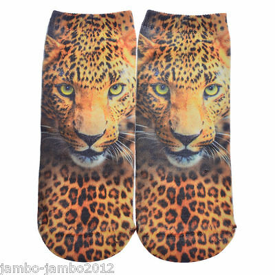 Striking Brown LEOPARD Trainer SOCKS; UK Shoe 3-7 CAT 3D Digital Photo UKseller