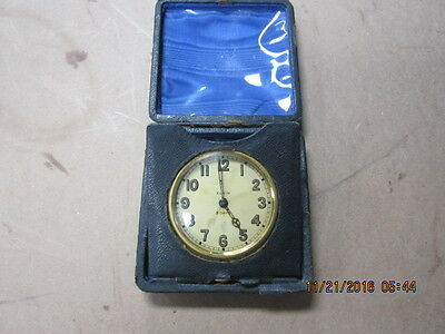 American Elgin 8 Day Travel Clock Keystone case body Gilt silveroid Leather case