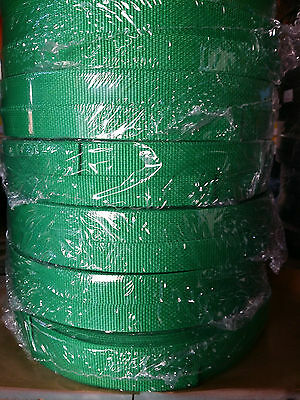 25mm / 2.5cm / 1 inch GREEN / EMERALD webbing / Strapping.  1 - 50 METRE Lengths