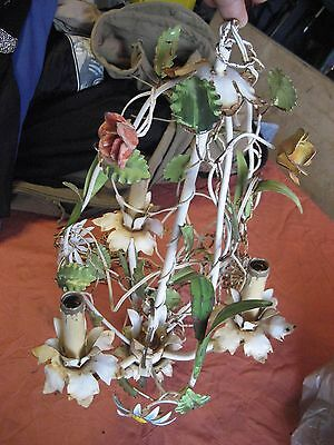 Vintage Italian Tole Flower Light Fixture Shabby Chic Cottage Charm Chandelier
