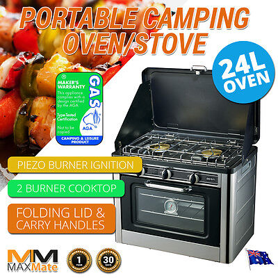 NEW CAMPING OVEN STOVE  2 Burners LPG, Stainless, Wind Proof, 24L Safety Piezo
