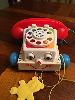 Vintage Fisher Price Telephone Pull String Toy Chatter Phone 1961 1985 #2063