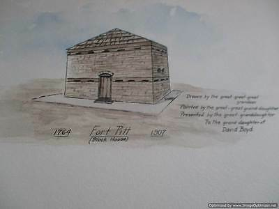 David Boyd ( Indian Captive ) 1907 Family Drawn Fort Pitt Block House Watercolor