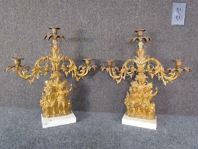 ANTIQUE 1850s AMERICAN GIRANDOLE CANDLESTICKS with AMERICAN INDIANS BY CORNELIUS