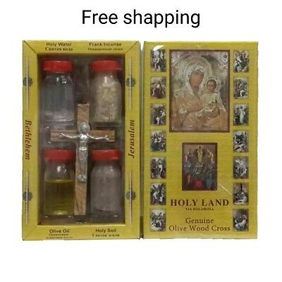 HOLY WATER SOIL OIL INSENCE WITH JESUS CROSS Crucifix HOLY LAND
