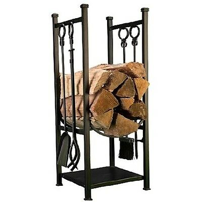 Fire Place  Log And Tool Holder Organized Sturdy Metal Frame Wood Holder New