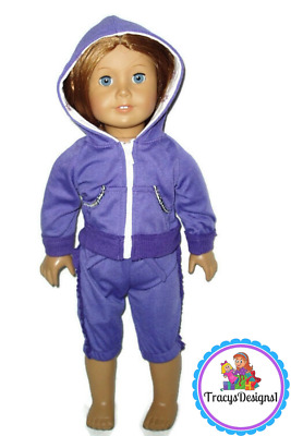 """Jogging Outfit Fits American Girl Dolls 18"""" doll clothes Purple Hoodie & Capri"""
