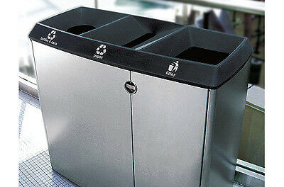Stainless steel public area recycling waste separation bin station trash