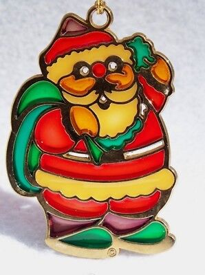 Vintage Brass Stained Glass Santa Claus Christmas Ornament
