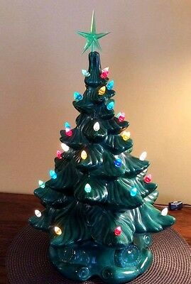 "Vintage Ceramic Christmas Tree 19"" To Top Of Star Scroll Base Multi Light Switch"