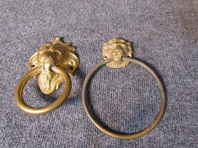 2 Vintage Brass Lion Towel Bar Holders