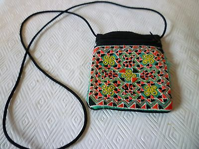 Thai Hmong Embroidery Small Zip Coin Pouch Necklace Purse Cross Pattern