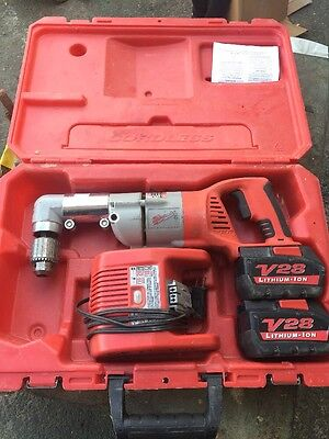 "Milwaukee 1/2"" Right Angle Drill with Case & 2 Batteries 0721-21 V28"