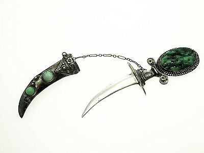 Vintage Sterling Silver Dagger Sword Scabbard Sheath Pin with Jade Stones
