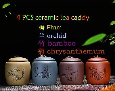 4 PCS Yixing Zisha containers tea caddies ceramic jars and lids small bottles