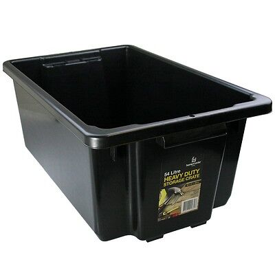 8 x 54L Black Heavy Duty Large Plastic Storage Tubs Crate Containers Tub