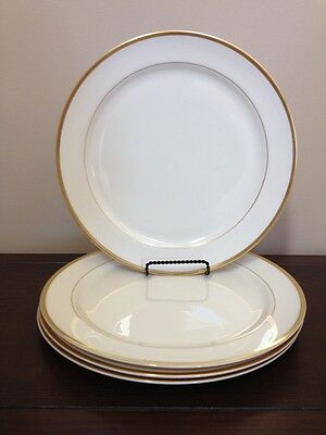 """Set of 4 Pickard Puritan 11"""" Dinner Plates (Cream with Single Thick Gold Trim)"""