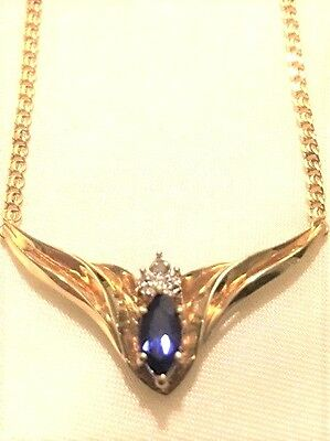 10k Yellow Gold Necklace And Earring Set Wig Diamond And Sapphire