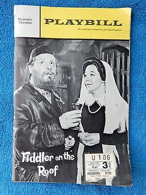 Fiddler On The Roof - Majestic Theatre Playbill w/Ticket - May 3rd, 1968 - Goz