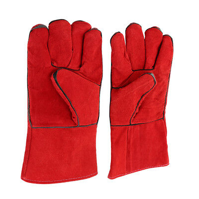 Thicken Leather Welding Gloves Gauntlets Welders Wear-resisting Labor Red Pair