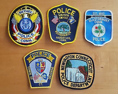 USA - 5 x Different Police Patches - Connecticut