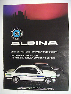 Bavarian Motorsport Australia Alpina Fullpage Colour Magazine Advertisement