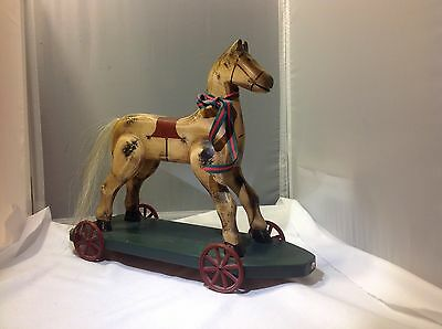 Vintage Wood Carved Horse With Hair Tail Signed By Anne 1992