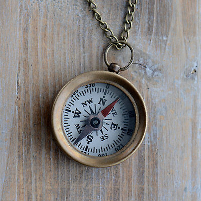 Mini Compass Necklace Pendant Real Functional WORKING Glass Face Antique Brass
