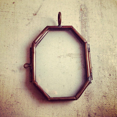 Octagon Two-Sided Glass Frame Pendant Hinged Locket Charm Necklace Vintage Style