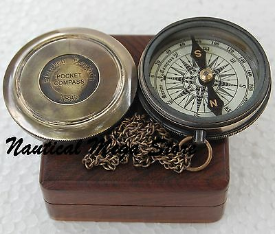 Robert Frost Poem Compass~Vintage Marine Brass Pocket Compass With Wood Case