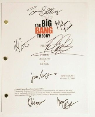 The Big Bang Theory 7x Cast Hand Signed Script COA Parsons Galecki Cuoco