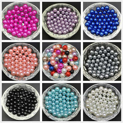 DIY 4mm 6mm 8mm 10mm No Hole Round Pearl Loose Acrylic Beads Jewelry Making