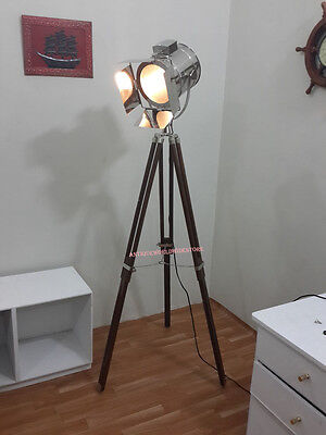 Vintage Searchlight Spot light Retro Floor Lamp With  Wooden Tripod Stand