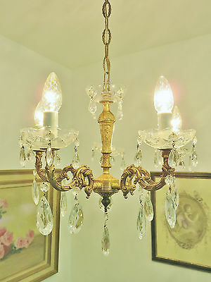 Pretty French Glass Cups & Droplets Chandelier Light Lamp Shabby Style Chic