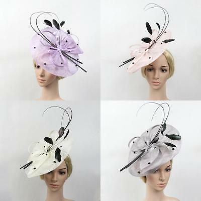 Large Feather Fascinator Hat Headband Church Kentucky Derby Lady Wedding Party