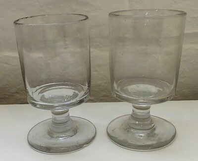 Antique Georgian Ale Rummer Wine Blown Glasses X2 Matching Pair