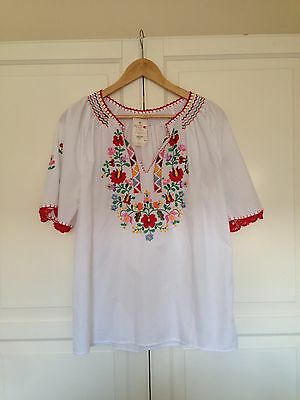 Hungarian Embroidered Peasant Folk Blouse M