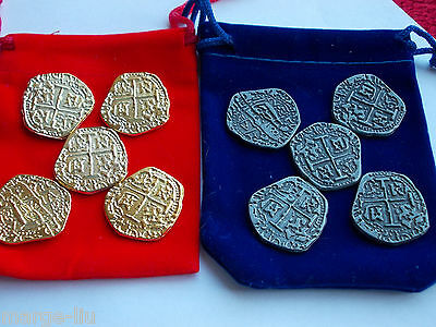 5 X Novelty Spanish Doubloon Coins Pieces Of Eight + Gift Pouch Pirate Treasure