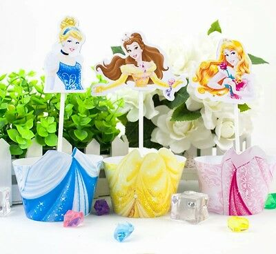 24 Pcs Disney Princess Cupcake Toppers & Wrappers Party/ Birthday/ Cinderella