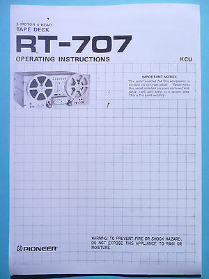 Operation Instructions user manual for Pioneer RT-707