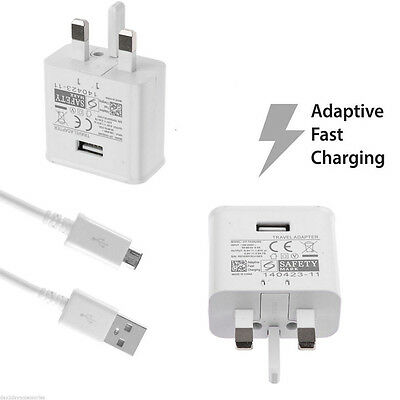 Wall Charger Adaptive Fast Charging + Cable For Samsung Galaxy S7 Edge UK Plug