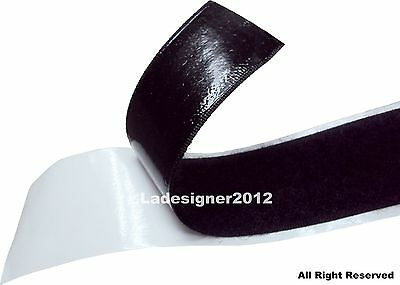 LOVETEX Brand  25mm and 50mm Black Adhesive-Backed Hook and Loop Sticky Tape
