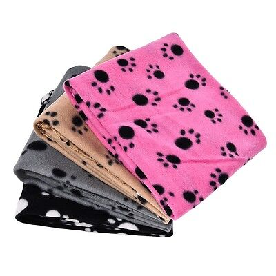 Pet Dog Cat Blanket Cushion Mat With Paw Prints Fleece Fabric Cat Blanket Cover