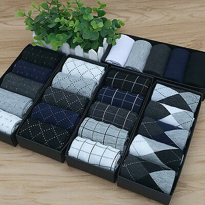 5 Pairs Men's Business Socks Autumn Winter Classic Style Dress Cotton Socks