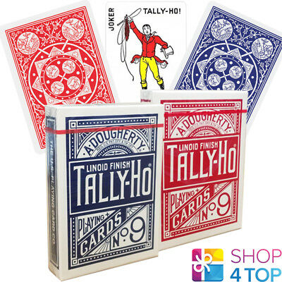 2 Decks Bicycle Tally Ho Fan Back Playing Cards Standard Index 1 Red 1 Blue New