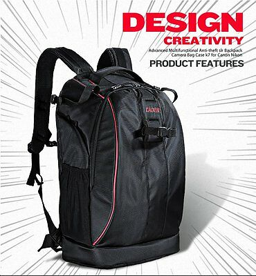 Caden K7 Large Capacity Camera Bag Backpack with Waterproof Cover for Canon Sony