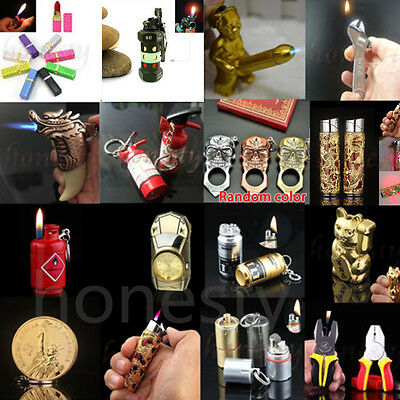 Various shapes Mini Butane Gas Cigarette Flame Lighter Refillable Windproof Gift