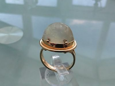 Large 18Ct Gold Chalcedony Ring